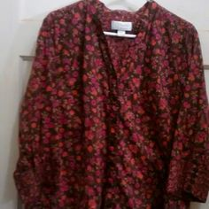 C.J. BANKS CALICO PRINT BLOUSE Brown with pink floral design.  Contrasting smaller print on cuffs and upper part of blouse.  See photos. c. j. banks Tops Blouses