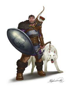 m Ranger lvl Med Armor Shield Longbow Axe Wolf Jon the Hunter by MatesLaurentiu twin Fantasy Male, Fantasy Warrior, Fantasy Rpg, Medieval Fantasy, Pathfinder Character, Pathfinder Rpg, Character Concept, Character Art, Character Design