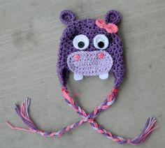 Handmade, crochet Purple and Pink Hippo Hat, Newborn Hat, Photo prop, Girl Hippo Hat on Etsy, $26.50