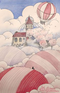 House in the clouds. ---- I love the idea that there's a completely different world in the clouds. It seems so unfair that such fluffy, magical world cannot be lived in. A house is surrounded by fields and orchards. ---- Watercolors, gouache and colored pencils on paper ---- Anita Gadzinska, children illustrator. Visit http://anitagadzinska.com if you're interested in my portfolio or would like to know more about me~