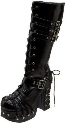 Demonia Women's Platform Shoe Goth Punk Lolita Blk PU Corset Lace Up Knee BT ** Very kind of your presence to drop by to visit the photo. (This is an affiliate link) Buy Shoes, Me Too Shoes, Lace Up Boots, Black Boots, Toe Injuries, Estilo Harajuku, Gothic Mode, Mode Steampunk, Gothic Boots
