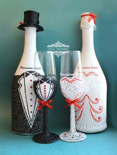 Personalized Wedding Champagne Glasses Set for от RomanticArtGlass