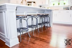 Want to Upgrade Your Kitchen Island? This is a super quick, inexpensive, easy weekend project, that provides a lot of character to an otherwise basic kitchen island by adding picture frame molding. Kitchen Island Molding, Diy Kitchen Cabinets, Painting Kitchen Countertops, Painting Cabinets, Picture Frame Molding, Basic Kitchen, Kitchen Upgrades, Farmhouse Chic, Southern Style