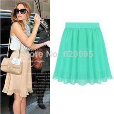 New 2014 Spring Summer Women Skirts Fashion Brand 7 Candy Colors Chiffon Skater Pleated Short Skirt Saia For Female Girl  ZP03 $205,15