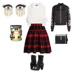 Ladylike plaid and punk vibe by kathryn-kennedy-1 on Polyvore featuring polyvore, fashion, style, Burberry, Off-White, Chicwish, Johnston & Murphy, Yves Saint Laurent, Bijoux de Famille, Sydney Evan and clothing