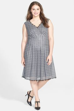 The dress I got for Cassie's wedding. Unlike the model it looks like I have a waist when wearing it. Beautiful fabric! Adrianna Papell | 'Deco' Crochet Knit Fit & Flare Dress | Nordstrom Rack