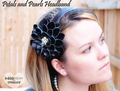 TUTORIAL - Petals & Pearls Flower (and headband) (she used an old leather purse to get the leather for this flower)