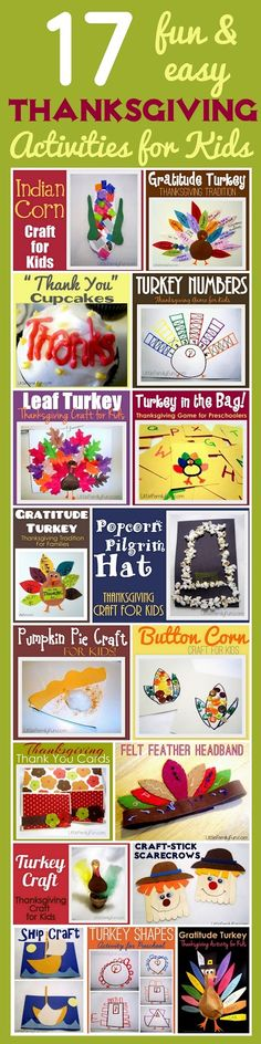 17 Thanksgiving Activities for Kids & looks like a good site for other activities for kids as well!