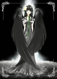 Black angel with black hair, violet eyes, gothic feather wings, & gray Art Nouveau dress by manga artist Shiitake.