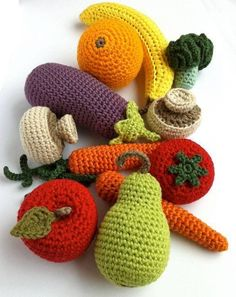 Crochet Vegetables / Crochet Fruit / Crocheted by LittleConkers Crochet Fruit, Crochet Food, Crochet Flowers, Crochet Baby, Knit Crochet, Crochet Mushroom, Knitting Patterns, Crochet Patterns, Food Patterns