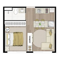 smol apartment Type 28 How to choose contemporary Rattan weather proof Garden Furniture In today's m Studio Apartment Floor Plans, Studio Floor Plans, Studio Apartment Layout, Studio Apartment Decorating, House Floor Plans, Small Apartment Plans, Apartment Interior, Apartment Living, Appartement Design