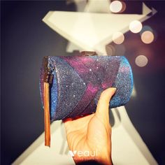 Fashion Grape Square Clutch Bags 2020 Metal Tassel Glitter Polyester Color Uva, Gland, Embellishments, Tassels, Glitter, Clutch Bags, Handbags, Fashion, Clutches