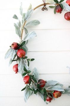 Pomegranate and Lambs ear fall wreath idea at Refresh Restyle