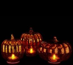 The Great Pumpkin has nothing on you with this set of three illuminated mercury glass pumpkins by Valerie Parr Hill. Done in a staggered array of sizes and offering both indoor and outdoor functionality, they're sure to become an essential highlight of your harvest-time home. From the Valerie Parr Hill Collection. QVC.com