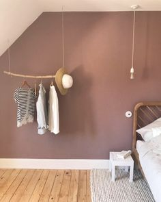 Private tour of the apartment under the eaves of glasses and overalls bedroom pink color on the walls - attic apartment in france pink wall // hellø b Retro Apartment, Attic Apartment, Bedroom Wall, Master Bedroom, Bedroom Decor, Farrow And Ball Bedroom, Loft Room, Pink Walls, Spare Room
