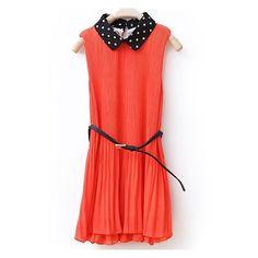 Solid Lapel Pleated Sleeveless Chiffon Dress Orange ❤ liked on Polyvore