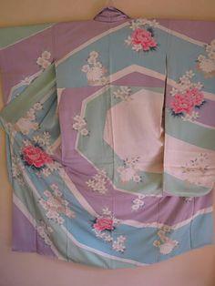 FURISODE KIMONO Antique Japanese Silk Kimono Sakura Peony Kiki