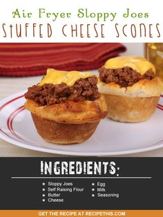 Welcome to my Air Fryer Sloppy Joes Stuffed Cheese Scones recipe. I am British so it goes without saying that I love cheese scones and have been making them for years and years. In fact it was the very first thing I learnt to cook at school and you can find my delicious cheese scones recipe here. I remember like it was yesterday making them for the very first time at school and remembering just how delicious they tasted and how I wanted to make more and more. I grew up in Yorkshire (that's…