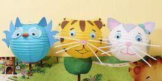 DIY Owl, Tiger & Cat Paper Lanterns