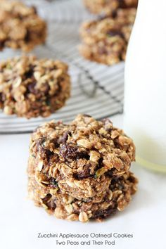 Zucchini cookies made with applesauce, oatmeal, raisins, and chocolate chips! No butter or oil needed! These cookies make a great breakfast ...