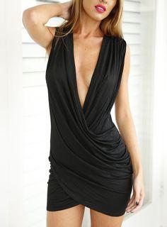 Deep V Neck Folds Bodycon Black Dress
