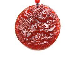 Natural red jade charm round dragon and phoenix charm pendant. $20.00, via Etsy.