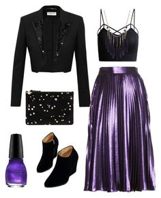"""""""New Year's Eve Purple Shine"""" by csdesbiens on Polyvore featuring Yves Saint Laurent, Gucci and WithChic"""
