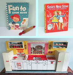 """Blogger says """"..... 1950 Marx Modern Toy Kitchen Set - a complete set with stove, fridge, broom closet, sink, dishwasher and storage shelves. Plus, it has retained all of its plastic door handles, knobs, faucet, utensil rack, sink basin, dishwasher tub, pots, pans, dishes, ice cube trays, tea kettle, canisters, cooking tools and flatware. There is even a red plastic turkey and a t-bone steak!"""" Source: The T-Cozy Blog"""