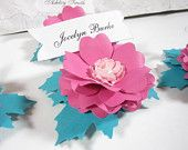 5 Paper Flower Place Cards Handmade Carrieklein by carrieklein