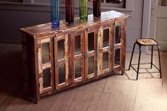 recycled wood sideboard with glass doors