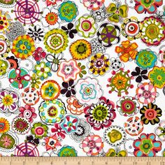 Cha Cha Floral White from @fabricdotcom  Designed by P&B Boutique for P&B Textiles, this cotton print is perfect for quilting, apparel and home decor accents.  Colors include white, black, purple, aqua, green, pink, hot pink, coral, yellow and orange.
