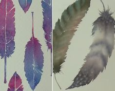 Watercolor Tutorial: How to paint Feathers in two different ways