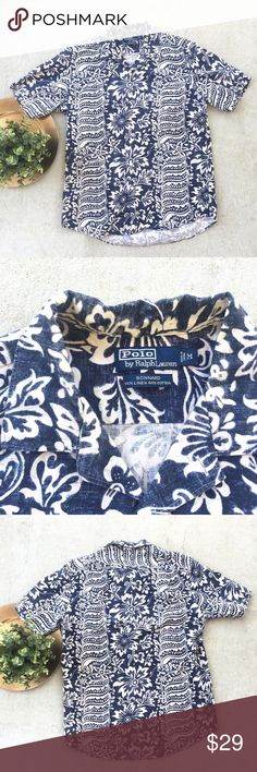 Polo Ralph Lauren Hawaii Floral Shirt Polo Ralph Lauren Mens Hawaii Floral Short Sleeve Button Front Shirt  Cotton Linen Blend Preowned good used condition Polo by Ralph Lauren Shirts Casual Button Down Shirts
