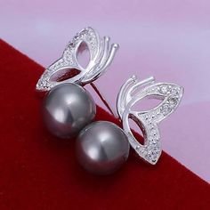 925 jewelry silver plated ,fashion jewelry For Women, Pearl Butterfly Purple Earrings /DQKDWEEQ LKIDDKJY