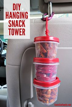 This DIY Hanging Snack Tower is a fun & convenient way to store snacks for your on-the-go adventures, like road trips, conventions, hiking, and more. You'll have easy access to your snacks AND they won't take up valuable space Road Trip Snacks, Travel Snacks, Travel Activities, Road Trips, Road Trip With Kids, Travel With Kids, Car Travel, Travel Tips, Travel Ideas