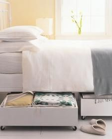 Closet on Wheels- Putting that Space Under Your Bed To Good Use. Storage that LOOKS clean/pretty, too.