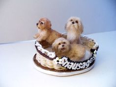Dollhouse Miniature 3  Little Dogs in a Bed  *Handsculpted*