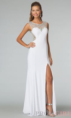 High Neck Prom Dress, JVN by Jovani Sheer Back Gowns- PromGirl#prom #dresses #gowns