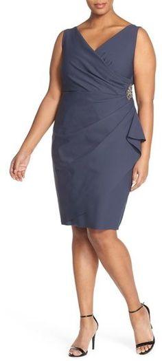 Alex Evenings Embellished Pleat Front Surplice Sheath Dress (Plus Size)