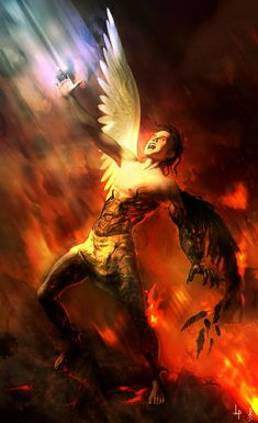 As he falls, his body ignites within the fires of Hell. Fulfilled, he understands he is the Adversary.