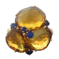 Pomellato Bahia Gold Madeira Citrine Sapphire Ring | From a unique collection of vintage cocktail rings at https://www.1stdibs.com/jewelry/rings/cocktail-rings/