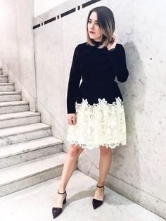 Gothic Victoriana gets a contemporary update in this velvet skater dress with contrasting lace skirt. #Topshop #TopshopStyle