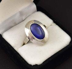 Bold Arts and Crafts Blue Quartz Silver Ring