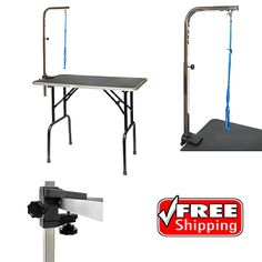 """Pet Dog Grooming Table Adjustable 40"""" High Arm Leash Loop Non Slip Surface Home #GoPetClub"""
