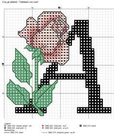 alfabeto con rosa: A