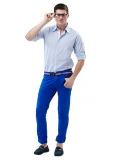 Not so formal! Smart casual, laid back look in Brad 100% Cotton shirt, turn up the sleeves, pair it with cool blue skinny Adam pants, sure to grab the attention!  Shop Look: http://www.freecultr.com/online-shop-by-look-men-skinny-pants-casual-shirt-loafers.html