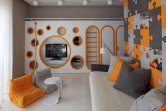 Awesome Decorating With an Orange Sofa for Living Room: Small Bedroom Decorating With An Orange Sofa Puzzle Wallpaper ~ flohomedesign.com Living Room Inspiration