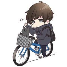 It is a cute sticker of Menhera-kun. Dibujos Anime Chibi, Cute Anime Chibi, Kawaii Chibi, Anime Neko, Kawaii Anime Girl, Emoji, Dossier Photo, Anime Boy Hair, Chibi Boy