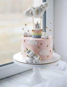 Baby Girl Birthday Cake, 1st Birthday Cake Topper, Pink Birthday Cakes, Unicorn Birthday, Hot Air Balloon Cake, Balloon Clouds, Unicorn Rainbow Cake, Cake Rainbow, Cloud Cake