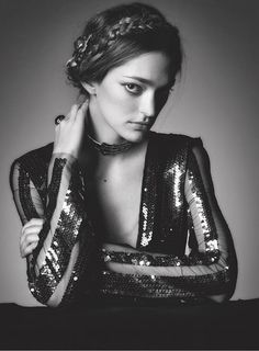 Sofia Sanchez de Betak wears Rodarte's FW15 Sequin Stripe Dress and Choker (Photo by Kenneth Willardt for Vs. Magazine).